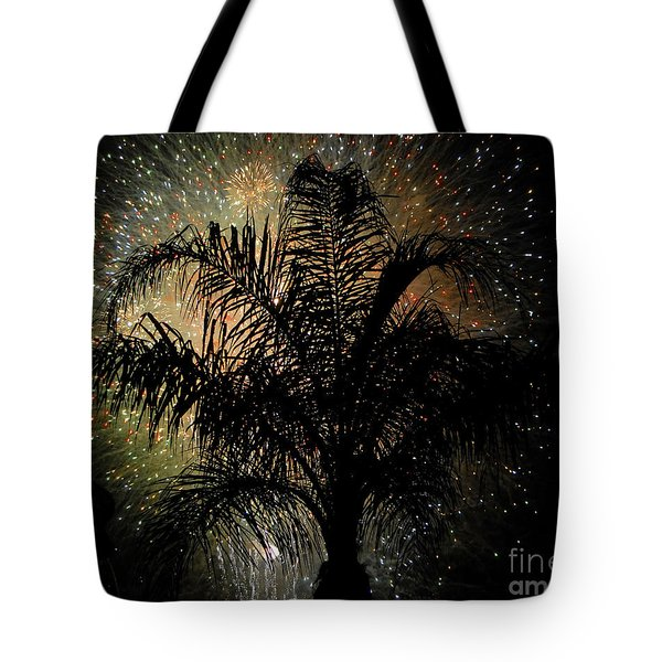 Palm Tree Fireworks Tote Bag by David Lee Thompson