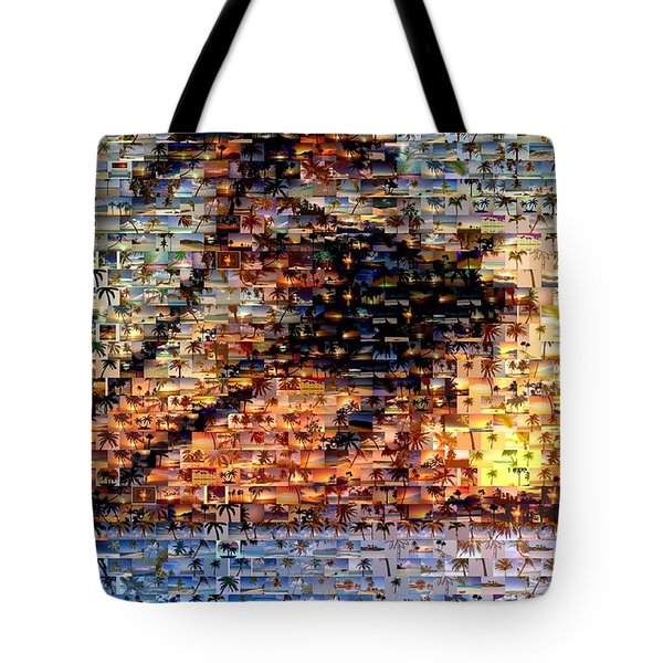 Tote Bag featuring the mixed media Palm Tree Mosaic by Paul Van Scott