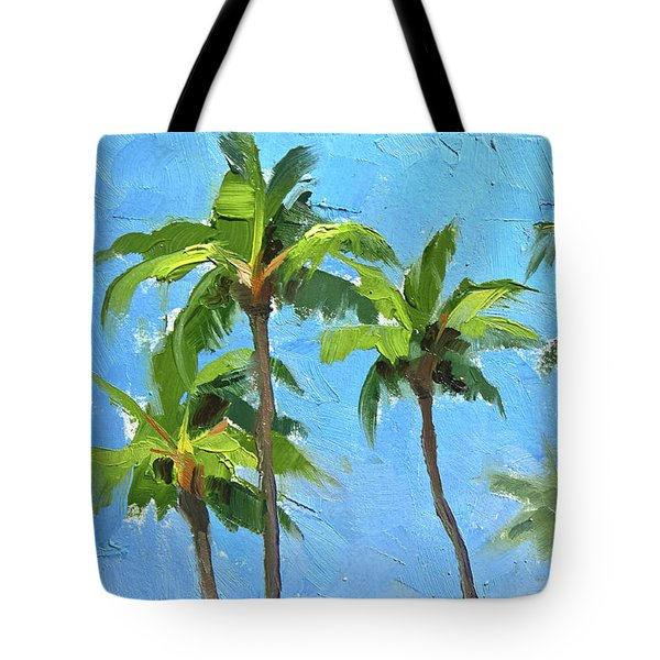 Tote Bag featuring the painting Palm Tree Plein Air Painting by Karen Whitworth