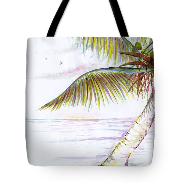 Tote Bag featuring the digital art Palm Tree Study Three by Darren Cannell