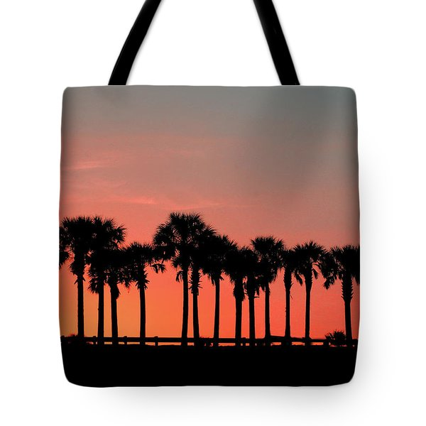 Tote Bag featuring the photograph Palm Tree Sunset by Joel Witmeyer