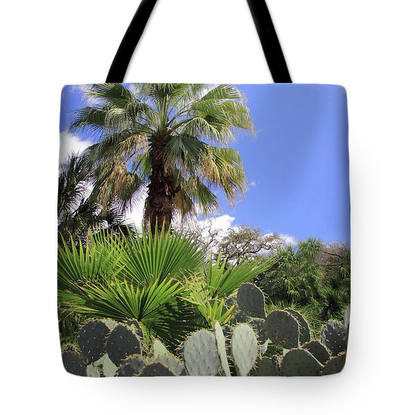 Palm Trees And Cactus Tote Bag