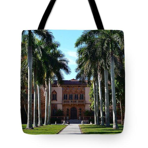 Palm Trees At Ca D' Zan  Tote Bag by Karen Francis