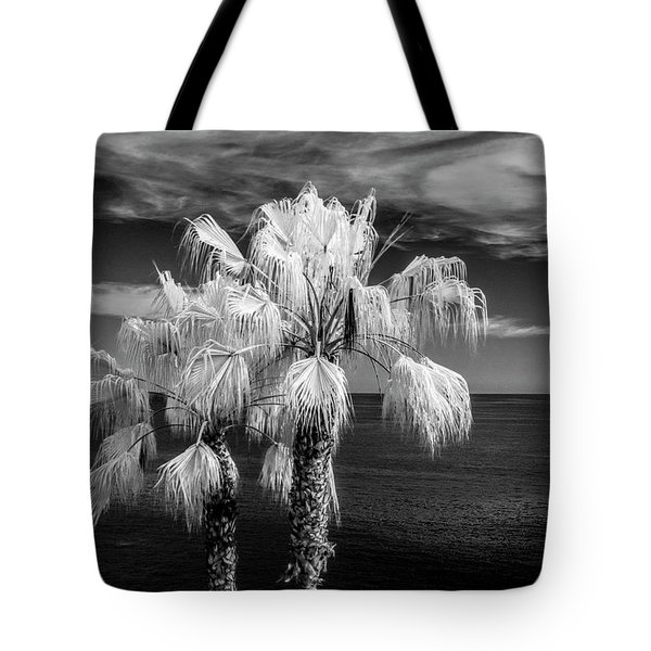 Tote Bag featuring the photograph Palm Trees At Laguna Beach In Infrared Black And White by Randall Nyhof