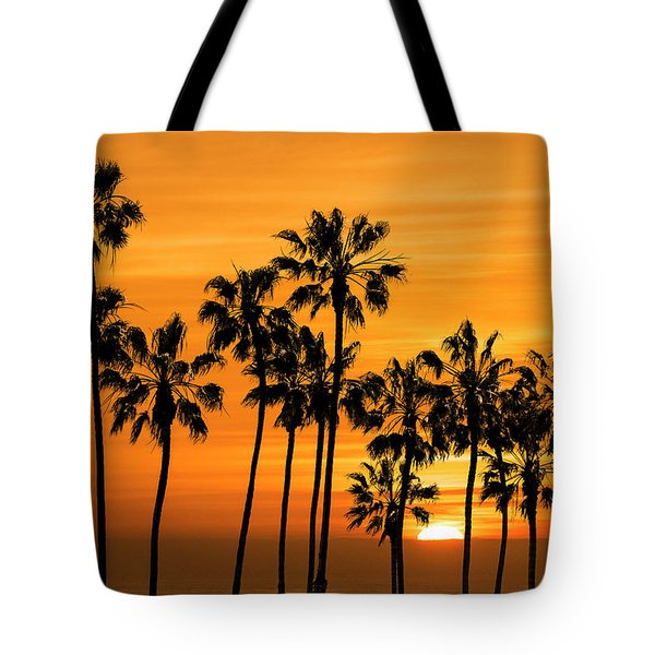 Tote Bag featuring the photograph Palm Trees At Sunset By Cabrillo Beach by Randall Nyhof