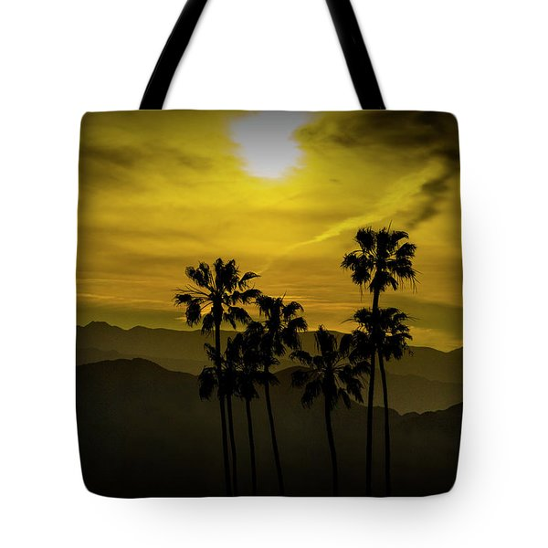Tote Bag featuring the photograph Palm Trees At Sunset With Mountains In California by Randall Nyhof