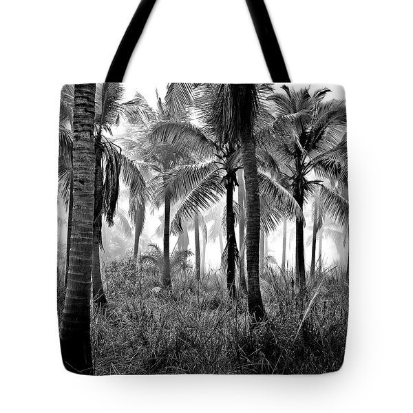 Palm Trees - Black And White Tote Bag