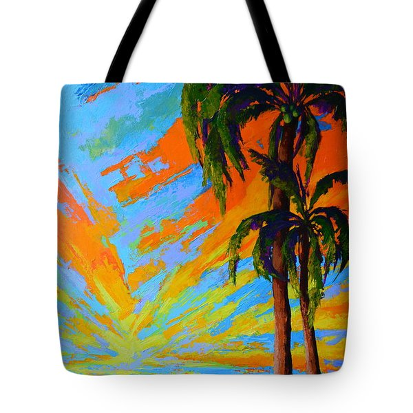 Tote Bag featuring the painting Florida Palm Trees, Tropical Beach, Colorful Sunset Painting by Patricia Awapara
