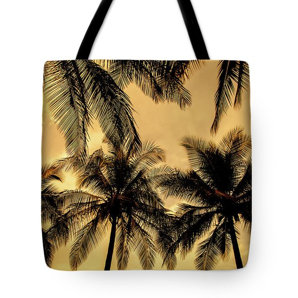 Palm Trees In Sunset Tote Bag