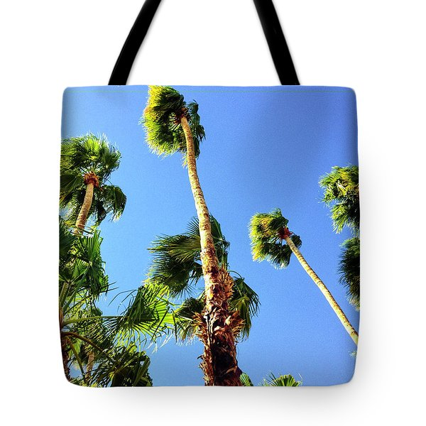 Palm Trees Looking Up Tote Bag