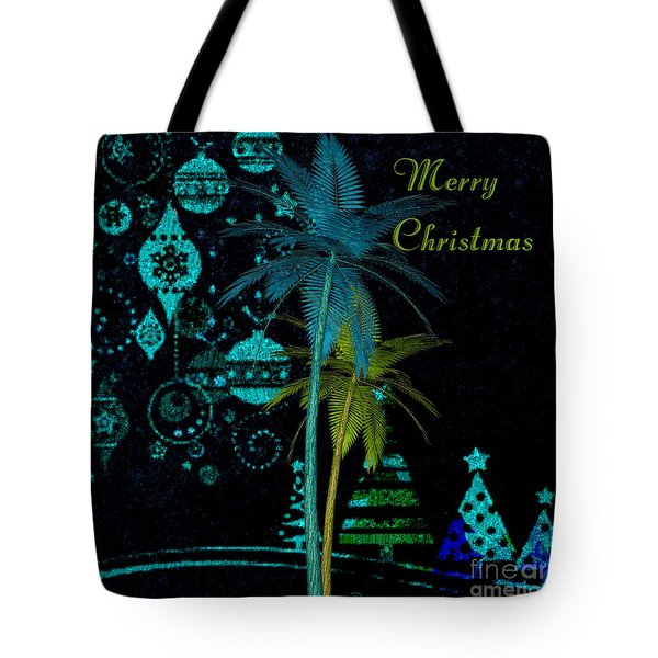 Tote Bag featuring the digital art Palm Trees Merry Christmas by Megan Dirsa-DuBois
