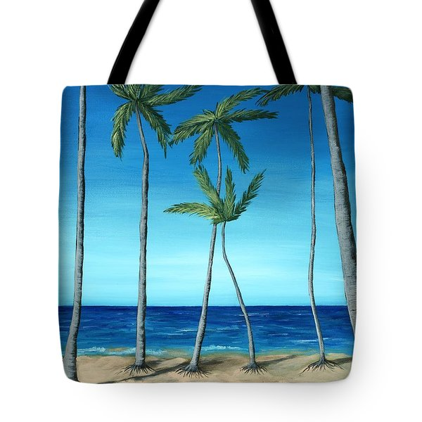 Tote Bag featuring the painting Palm Trees On Blue by Anastasiya Malakhova