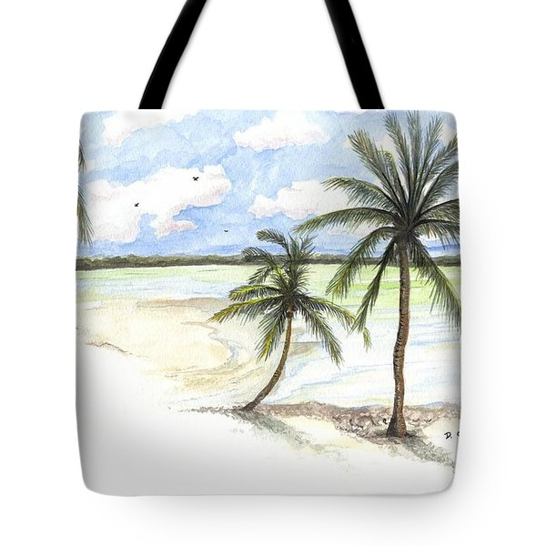 Tote Bag featuring the painting Palm Trees On The Beach by Darren Cannell