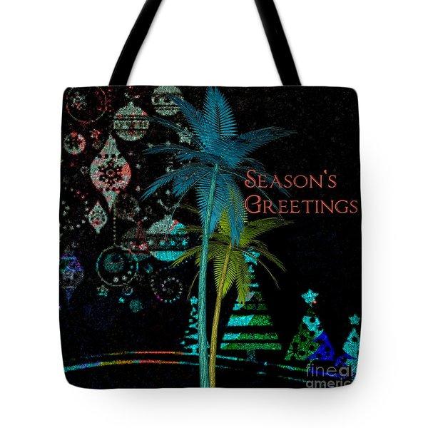 Palm Trees Season's Greetings Tote Bag