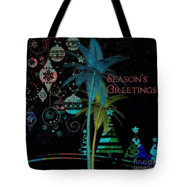 Tote Bag featuring the digital art Palm Trees Season's Greetings by Megan Dirsa-DuBois