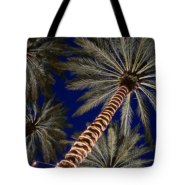 Palm Trees Wrapped In Lights Tote Bag