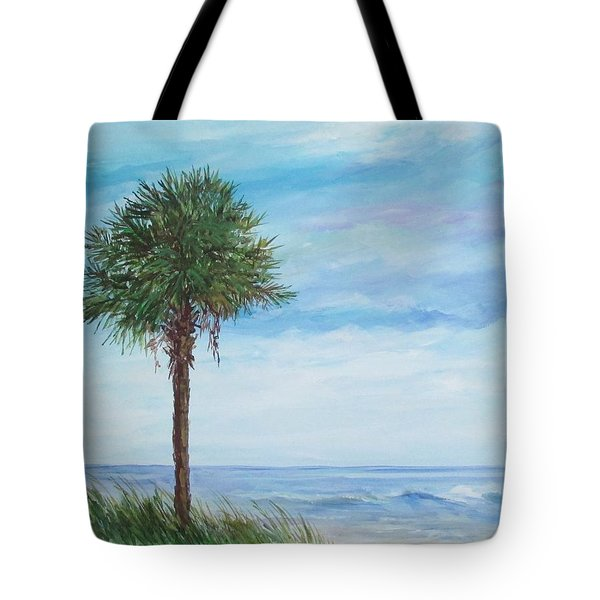 Tote Bag featuring the painting Sold  Palmetto On The Beach by Gloria Turner