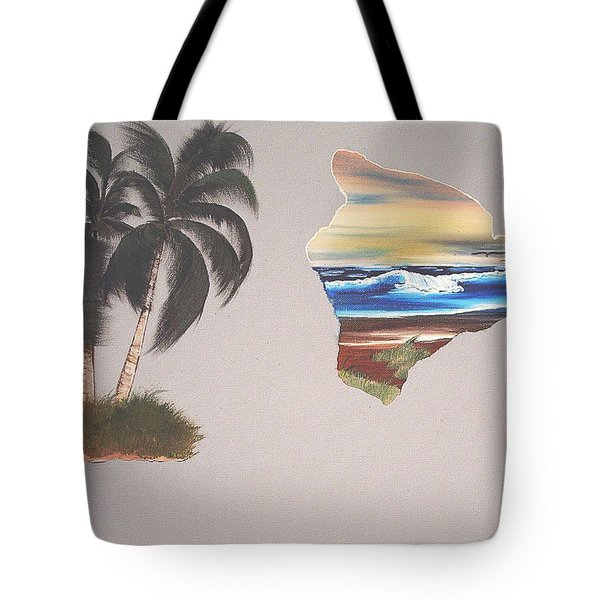 Tote Bag featuring the painting Palms And Big Island by Karen Nicholson