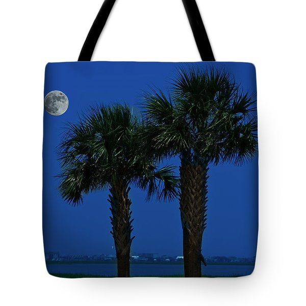 Tote Bag featuring the photograph Palms And Moon At Morse Park by Bill Barber