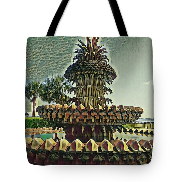 Palms And Pineapples Tote Bag