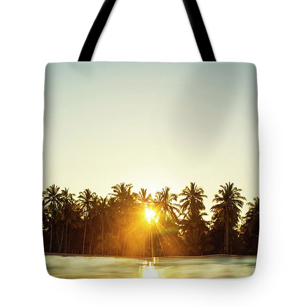 Palms And Rays Tote Bag