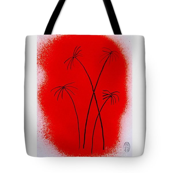Tote Bag featuring the painting Palms And Sunset by Roberto Prusso