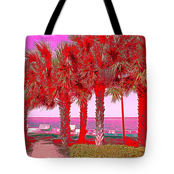 Palms In Red Tote Bag