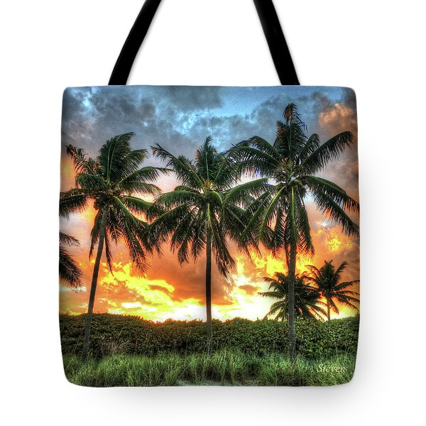 Palms On Fire Tote Bag