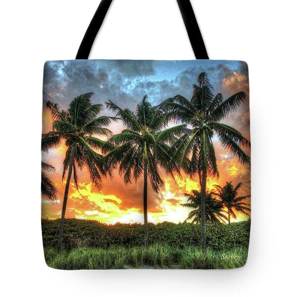 Palms On Fire Tote Bag by Steven Lebron Langston