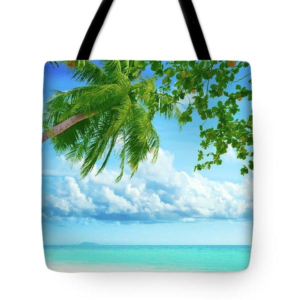 Palmtree On The Beach Tote Bag