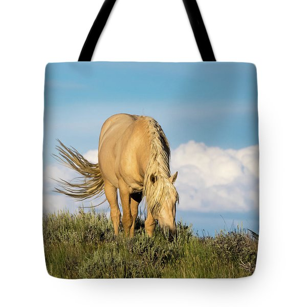 Palomino Wild Stallion In The Evening Light Tote Bag