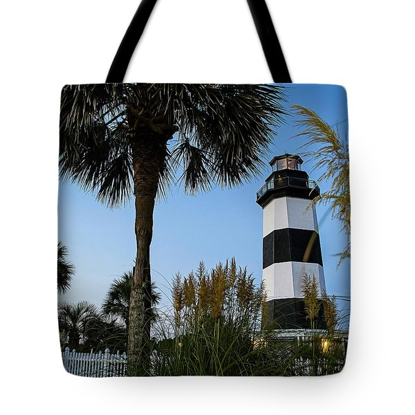 Pampas Grass, Palms And Lighthouse Tote Bag