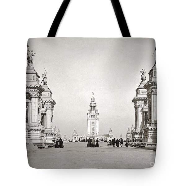 Tote Bag featuring the photograph Pan Am Tower Approach 1901 by Martin Konopacki Restoration