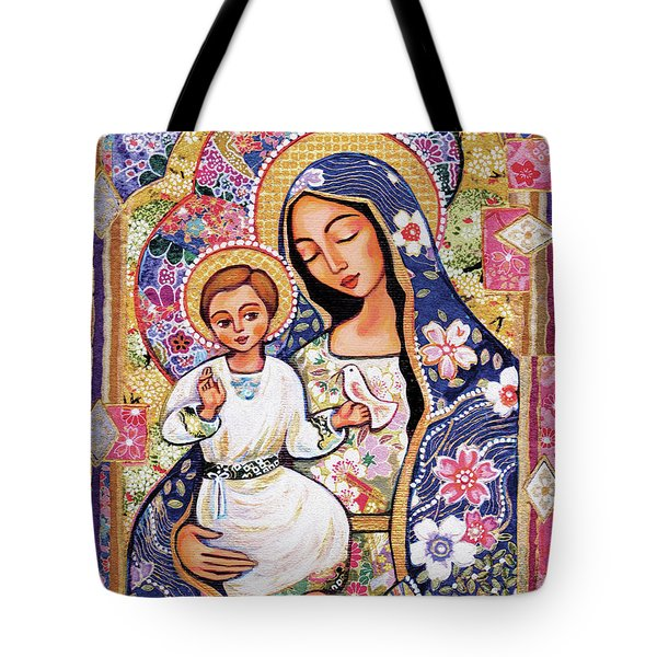 Tote Bag featuring the painting Panagia Eleousa by Eva Campbell