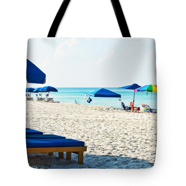 Panama City Beach Florida With Beach Chairs And Umbrellas Tote Bag