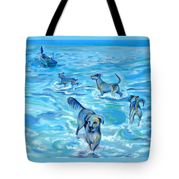 Tote Bag featuring the painting Panama. Salted Dogs by Anna  Duyunova