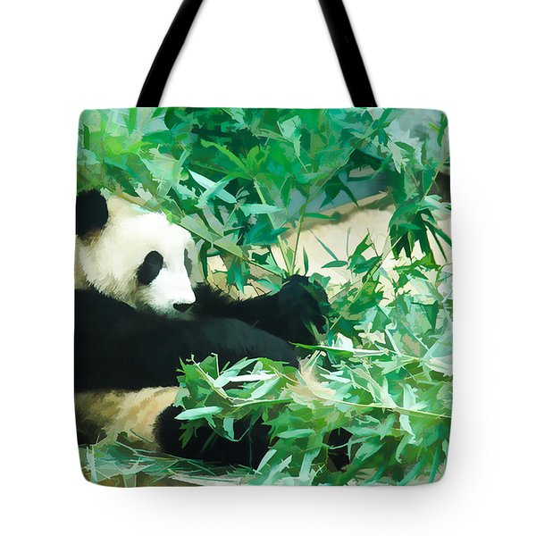 Tote Bag featuring the painting Panda 1 by Lanjee Chee