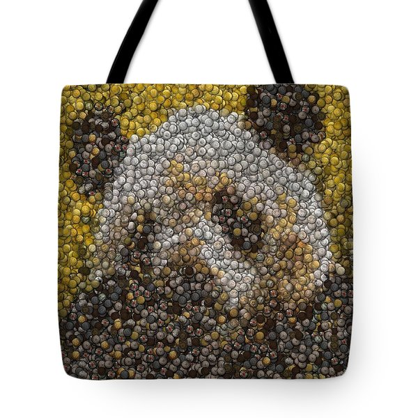 Tote Bag featuring the digital art Panda Coin Mosaic by Paul Van Scott