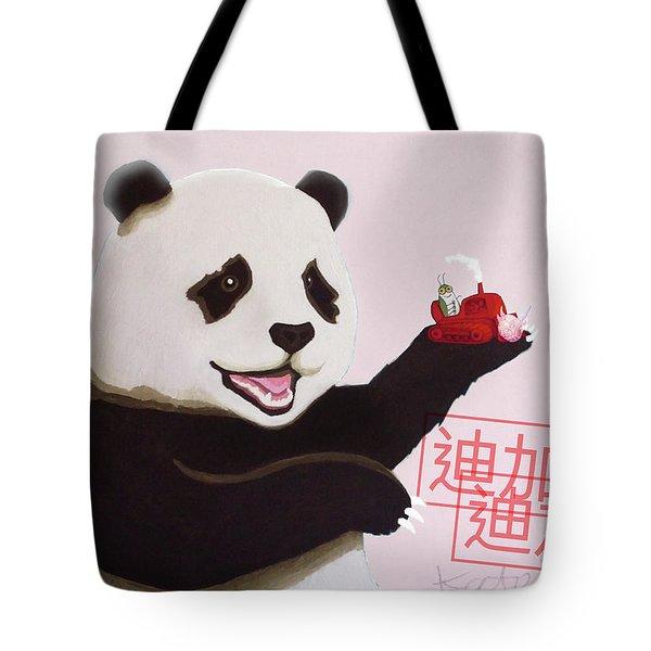 Panda Joy Pink Tote Bag