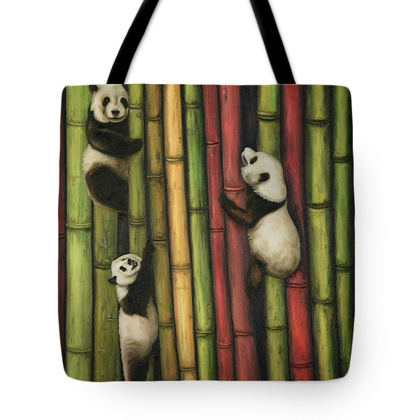 Pandas Climbing Bamboo Tote Bag by Leah Saulnier The Painting Maniac