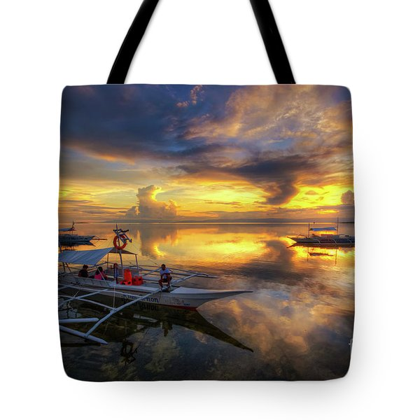 Tote Bag featuring the photograph Panglao Port Sunset 10.0 by Yhun Suarez