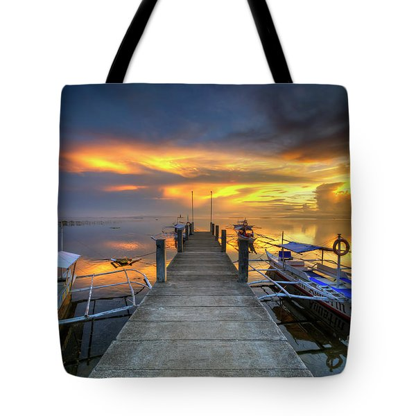 Tote Bag featuring the photograph Panglao Port Sunset 8.0 by Yhun Suarez