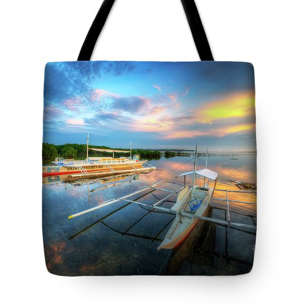 Tote Bag featuring the photograph Panglao Port Sunset 9.0 by Yhun Suarez
