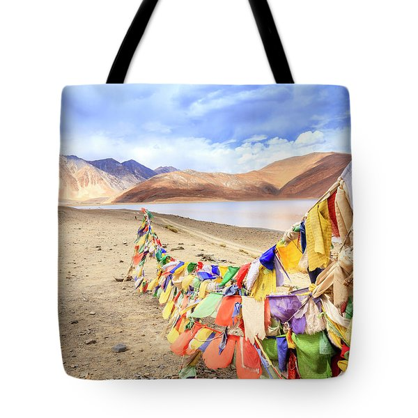 Tote Bag featuring the photograph Pangong Tso Lkae by Alexey Stiop