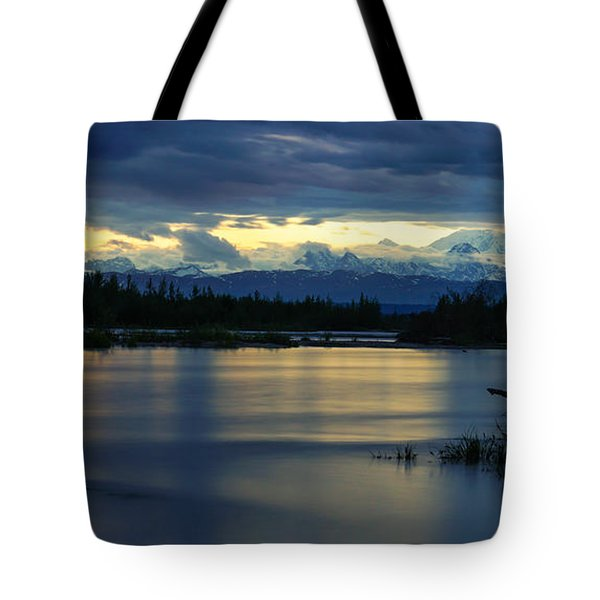 Pano Alaska Midnight Sunset Tote Bag