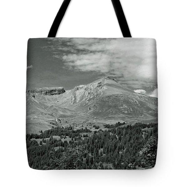 Panorama Alps Switzerland In Black And White Tote Bag