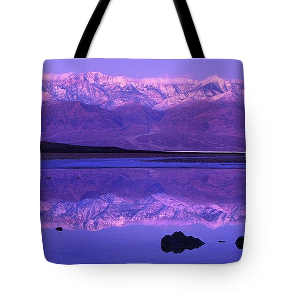 Panorama Badwater And The Panamint Range At Sunrise Death Valley Tote Bag