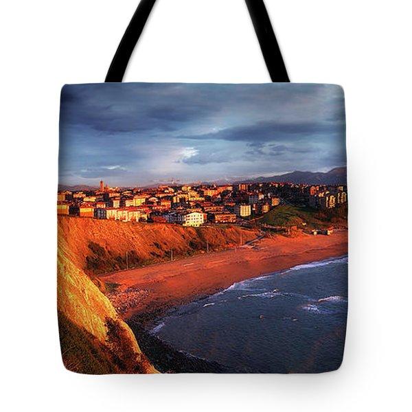 Panorama Of Aixerrota Sunset Tote Bag