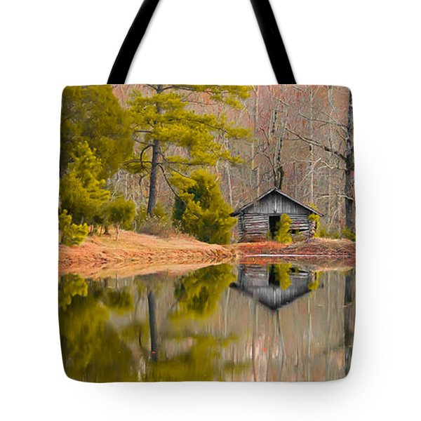 Panorama Of Cabin By The Lake Tote Bag by Shelby  Young