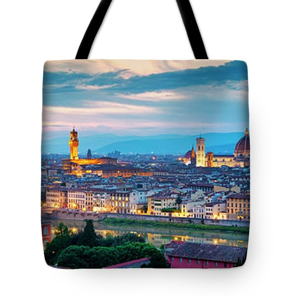 Tote Bag featuring the photograph Panorama Of Florence by Fabrizio Troiani